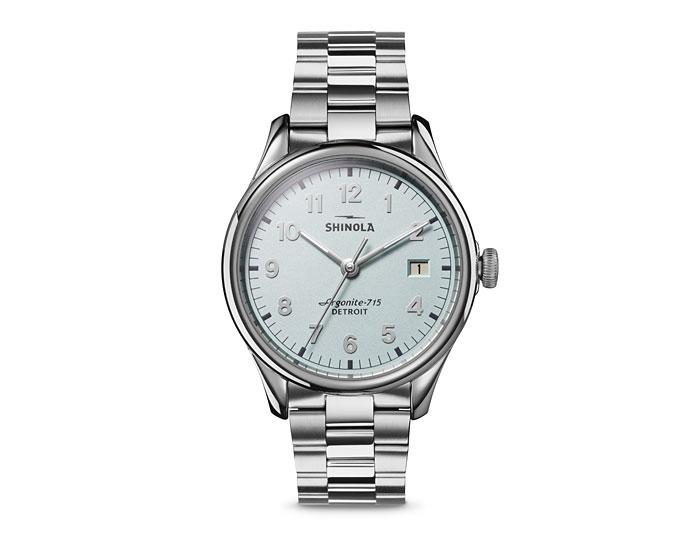 Shinola Vinton 38mm stainless steel bracelet watch.