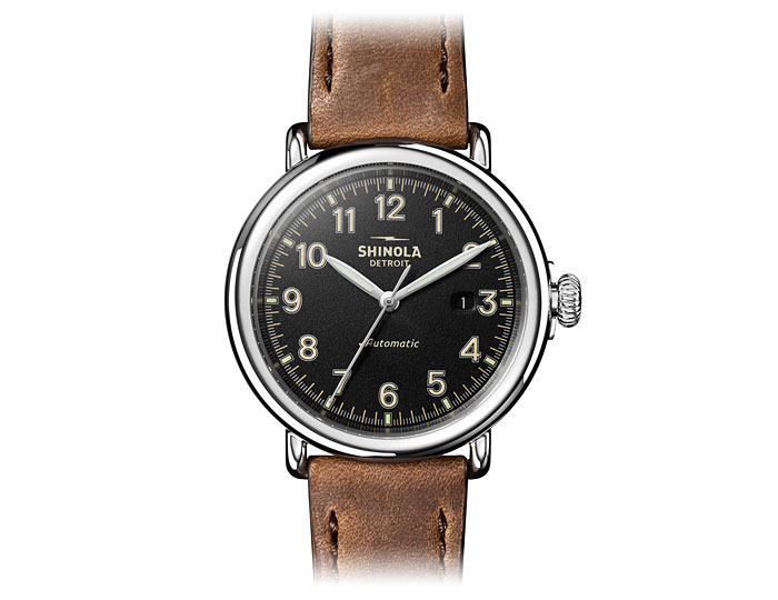 Shinola Runwell automatic 39.5mm stainless steel leather strap watch.