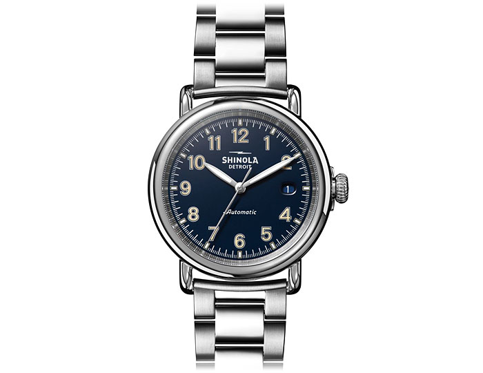 Shinola Runwell Automatic 39.5mm stainless steel bracelet watch.