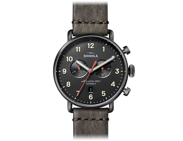Shinola Canfield 43mm PVD grey finish leather strap watch.