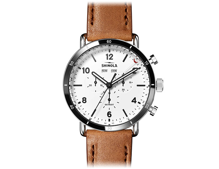 Shinola Canfield Sport Chronograph 45mm stainless steel leather strap watch.