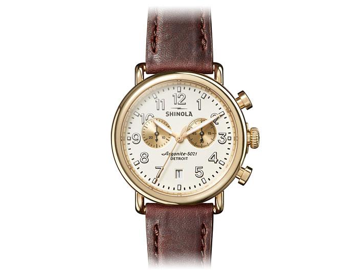 Shinola Runwell chronograpgh PVD gold finish leather strap watch.