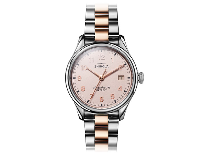 Shinola Vinton 38mm stainless steel and PVD gold finish bracelet watch.
