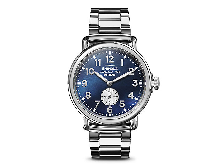 Shinola Runwell 41mm stainless steel bracelet watch.