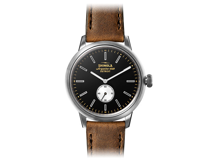 Shinola Bedrock 42mm stainless steel leather strap watch.