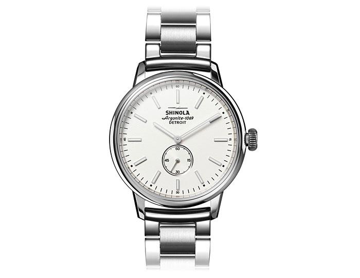 Shinola Bedrock 42mm stainless steel bracelet watch.