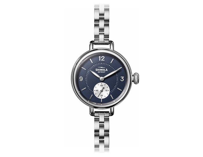Shinola Birdy 34mm stainless steel bracelet watch.