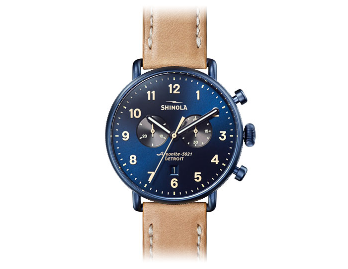 Shinola Canfield chronograph 43mm PVD blue finish leather strap watch.