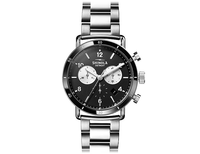 Shinola Canfield Sport Chronograph 40mm stainless steel bracelet watch.