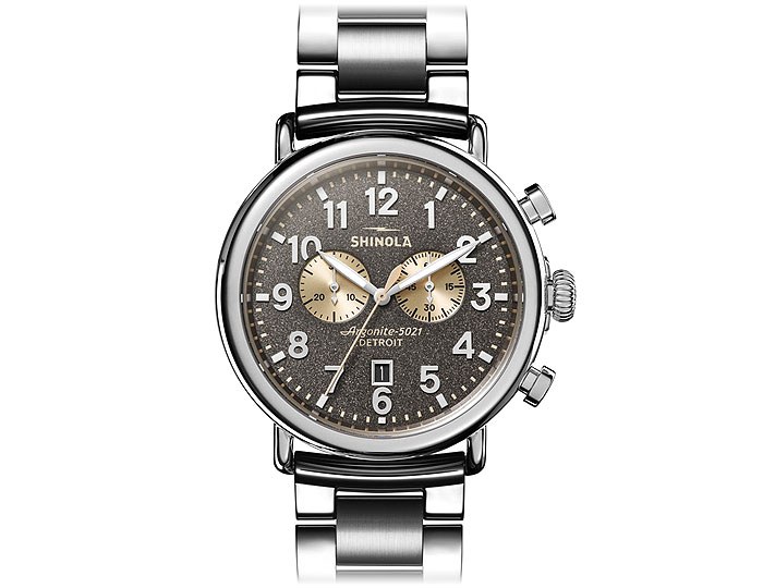 Shinola Runwell Chronograph 47mm stainless steel bracelet watch.
