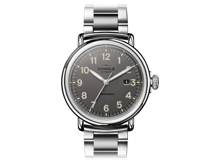 Shinola Runwell automatic 45mm stainless steel bracelet watch.