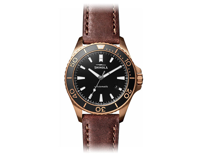 Shinola Bronze Monster automatic 43mm bronze leather strap watch.