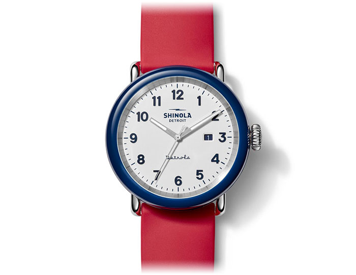 Shinola Detrola The Ace 43mm rubber strap watch.