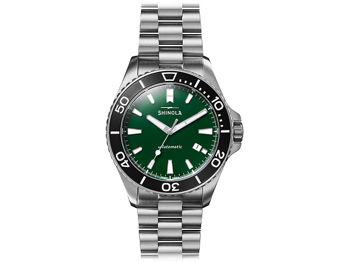 Shinola Lake Ontario Monster Automatic 43mm stainless steel bracelet watch.