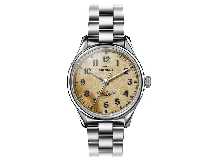 Shinola Petoskey Vinton 38mm stainless steel bracelet watch.