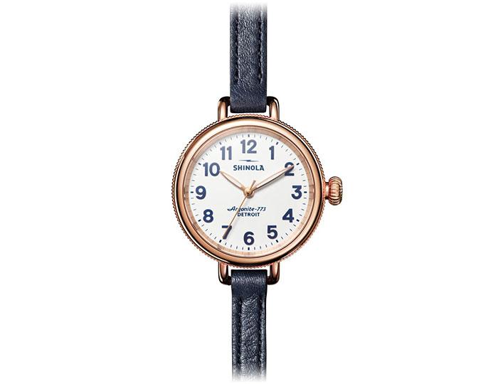 Shinola Birdy 34mm PVD rose gold finish  leather strap watch.