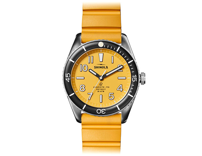 Shinola Duck 42mm stainless steel rubber strap watch.