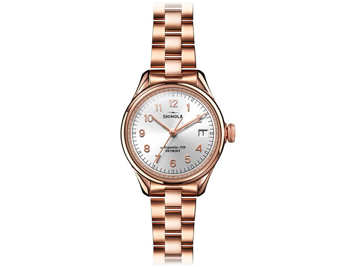 Shinola Vinton 32mm PVD rose finish bracelet watch.