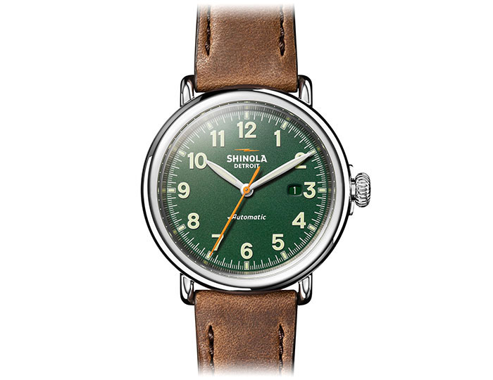 Shinola Runwell Automatic 45mm stainless steel leather strap watch.