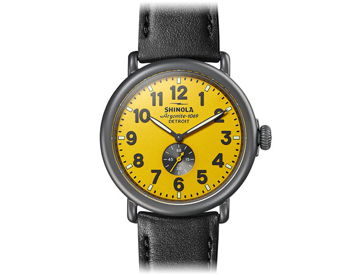 Shinola Runwell 47mm PVD coated leather strap watch.