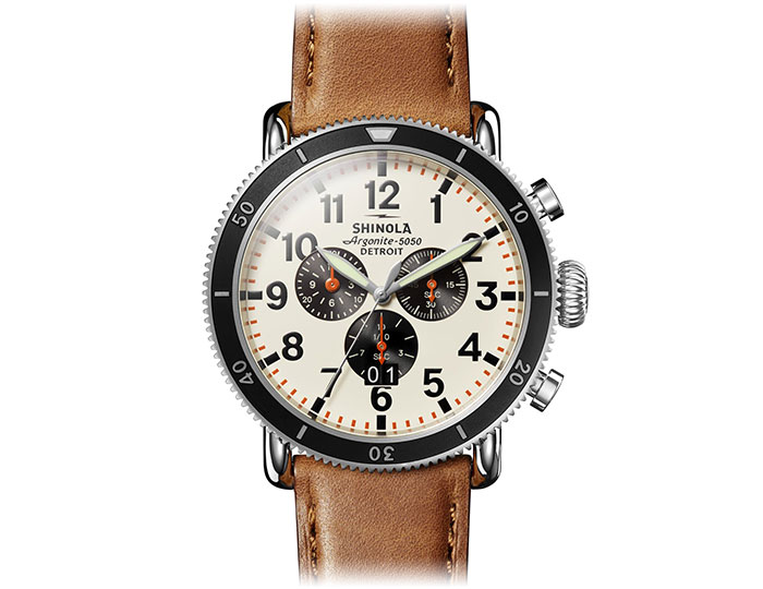Shinola Runwell Sport 48mm stainless steel leather strap watch.