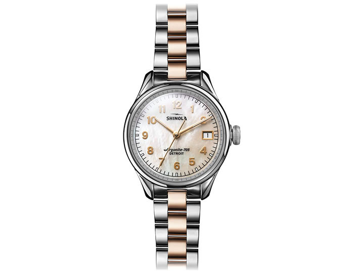 Shinola Vinton 32mm stainless steel and PVD rose gold finish bracelet watch.