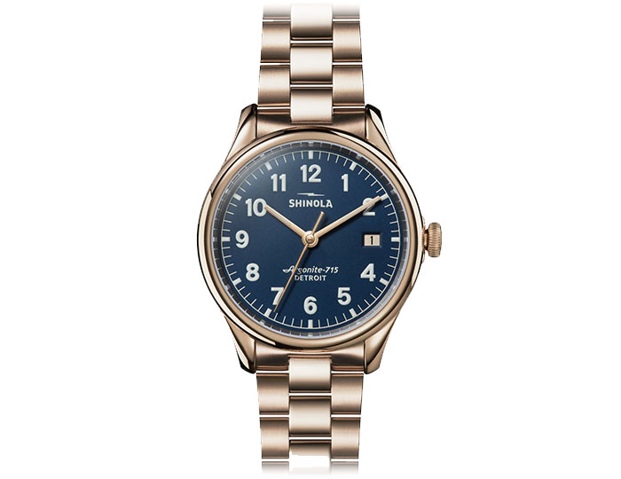 Shinola Vinton 38mm PVD rose finish bracelet watch.