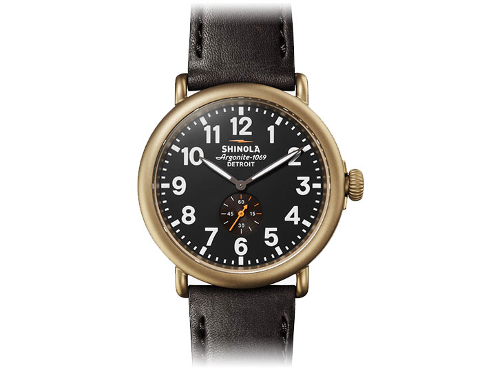 Shinola Runwell 47mm PVD coated leather strap watch.