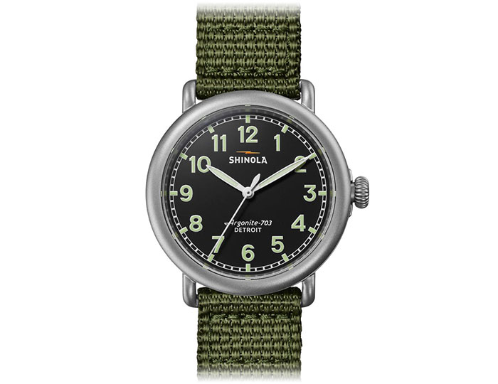 Shinola Runwell field 41mm stainless steel nylon strap watch.