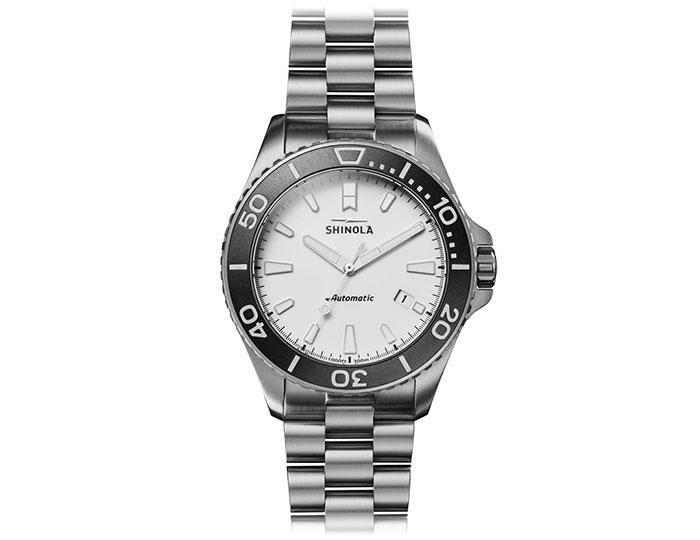Shinola Ice Monster 43mm titanium bracelet watch.
