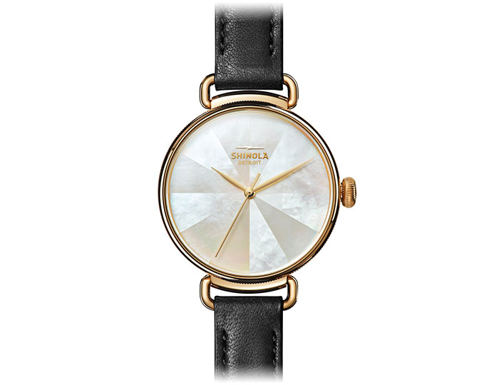 Shinola Canfield 38mm PVD gold finish leather strap watch.