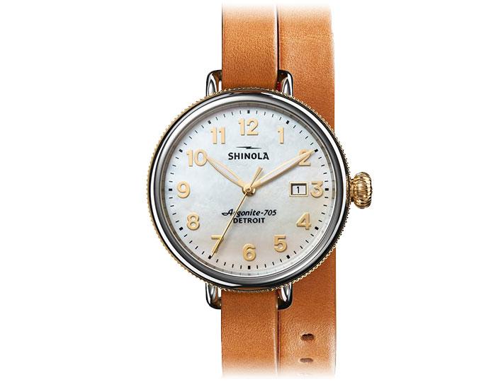 Shinola Birdie 38mm stainless steel leather strap watch.