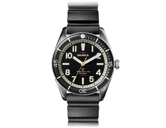 Shinola Duck 42mm stainless steel rubber strap watch.