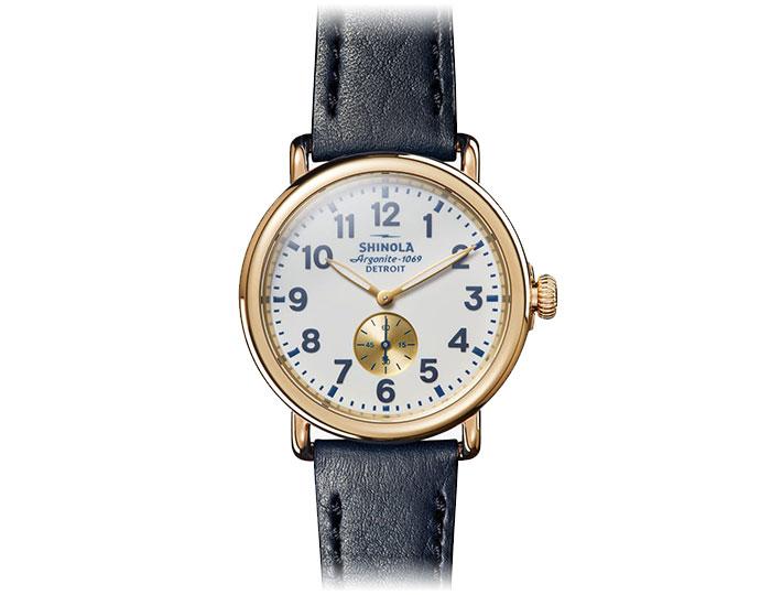 Shinola Runwell 41mm PVD gold finish leather strap watch.