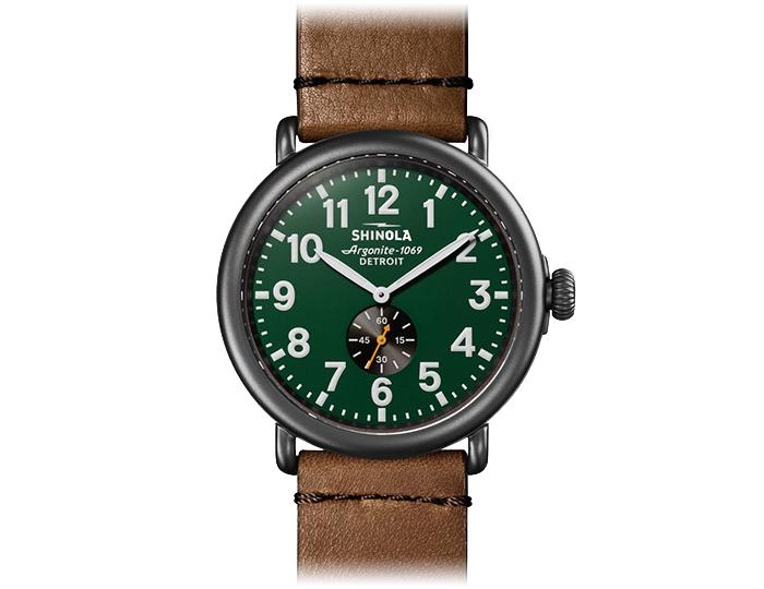 Shinola Runwell 47mm stainless steel tan leather strap watch.