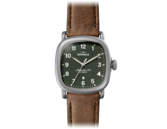 Shinola Guardian 41.5mm stainless steel tan leather strap watch.