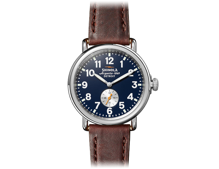 Shinola Runwell stainless steel 41mm brown leather strap watch.