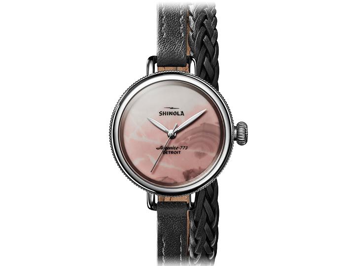 Shinola Birdy stainless steel 34mm black leather strap watch.