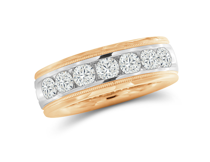 Men's round brilliant cut diamond band in 18k white and rose gold.