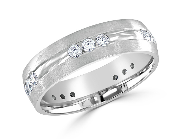 Men's round brilliant cut diamond band in 18k white gold.