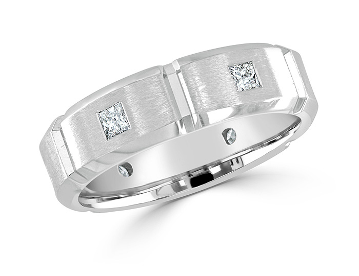 Men's princess cut diamond wedding band in 18k white gold.