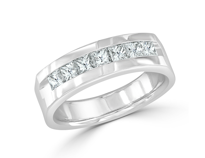 Men's princess cut diamond band in 18k white gold.