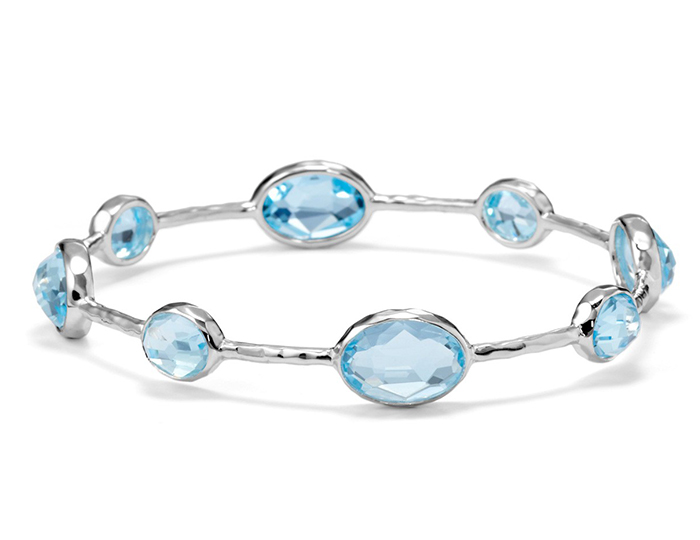 IPPOLITA Sterling Silver Rock Candy 8-Stone Bangle in Blue Topaz.