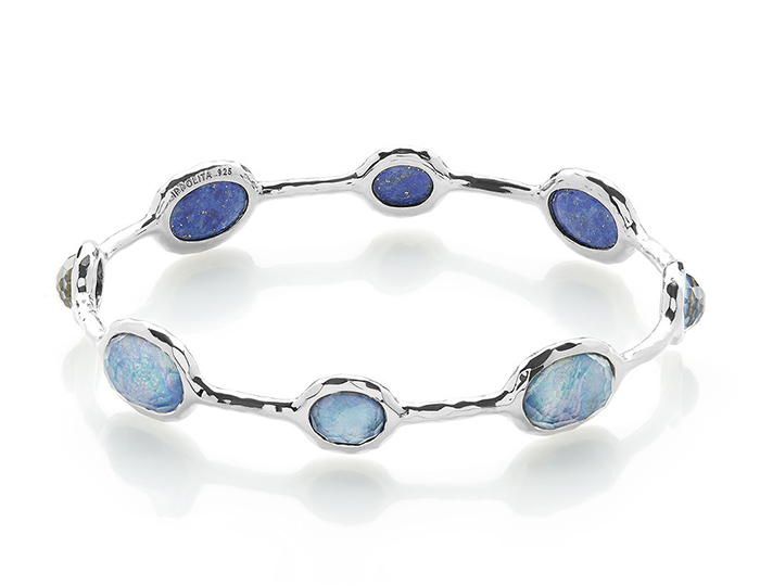 IPPOLITA Sterling Silver Rock Candy 8-Stone Bangle in Clear Quartz and Mother-of-Pearl and Lapis.