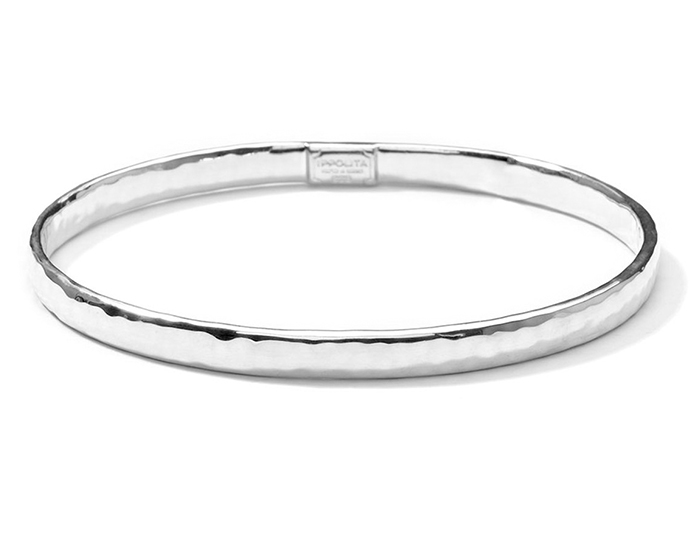 IPPOLITA Sterling Silver Flat Hammered Bangle.