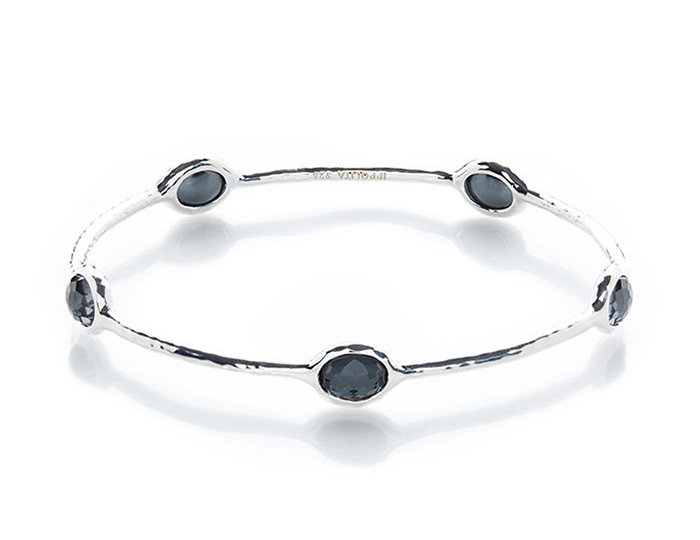 IPPOLITA Rock Candy Sterling Silver 5-Stone Bangle in Clear Quartz and Hematite