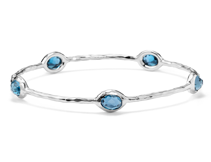 IPPOLITA Sterling Silver Rock Candy 5-stone Bangle in London Blue Topaz.