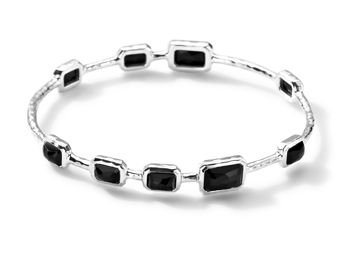 IPPOLITA Sterling Silver Rock Candy 9-Stone Bangle in Onyx.