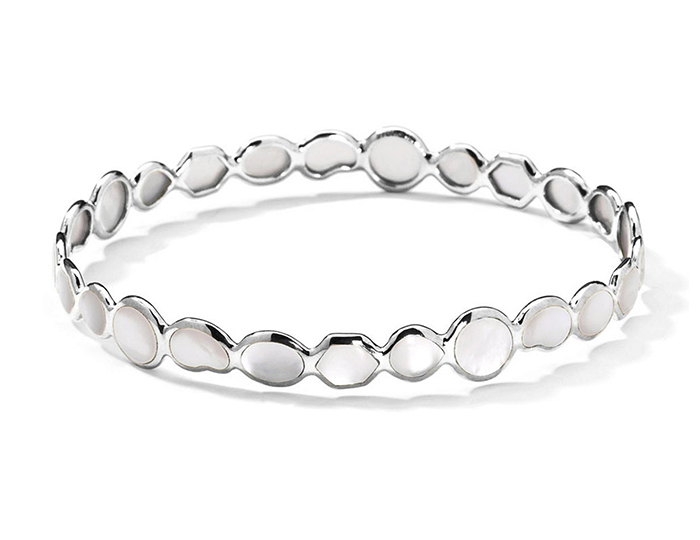 IPPOLITA Sterling Silver Rock Candy All-Over Stone Bangle in Mother-of-Pearl.