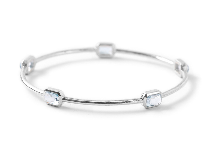 IPPOLITA Sterling Silver Rock Candy 5-Stone Bangle in Blue Topaz.